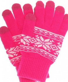 TOUCHSCREEN GLOVES FAIRISLE PINK