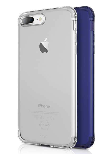 Protective Gel case Zero Gel 2 Pack for iPhone 7 plus Blue steel and transparent