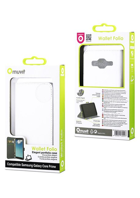 MUSNS0169 Flip case (with 3 cards slots) for Galaxy Core Prime G530 White